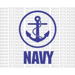 Navy Anchor logo stickers / decal  with circular design for Bikes, cars, laptop
