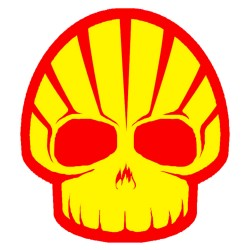 Shell funny skull logo for cars, bikes and laptop