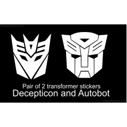 Transformer logo sticker decal - Pair of Autobot and decepticon sticker (custom colors available)