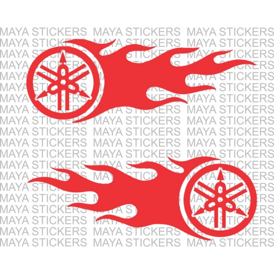 Yamaha Logo With Flames Stickers Available In Custom