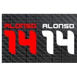 Alonso 14 Formula one sticker. (Pair of 2 stickers)
