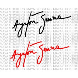 Ayrton senna autograph decal sticker ( Pair of 2 )