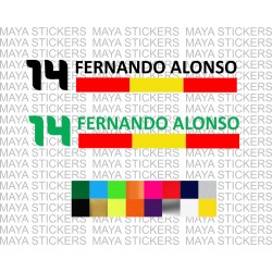 Fernando Alonso Number 14 with Spanish flag sticker