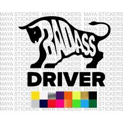 BADASS driver bull design sticker for cars, trucks, suvs