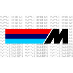BMW M power logo with horizontal stripes.