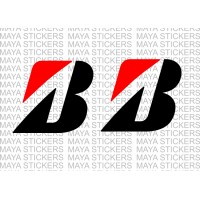 Bridgestone new 'B' logo stickers for Cars and Motorcycles ( Pair of 2 Stickers)