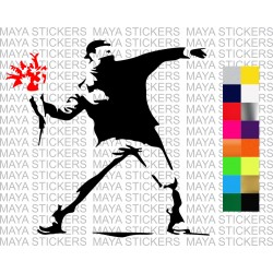Banksy flower thrower decal sticker for cars, bikes, laptops