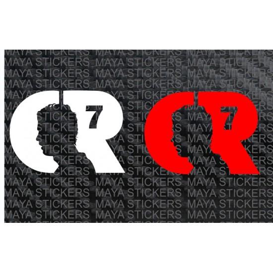 Cristiano Ronaldo CR7 silhouette logo sticker / decal (pair of 2)