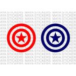 Captain America star shield sticker in single color.