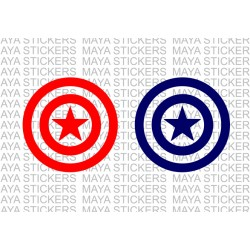 Captain America star shield sticker in single color. ( Pair of 2 Stickers)