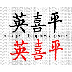 Courage, happiness and peace in chinese Hanja Characters
