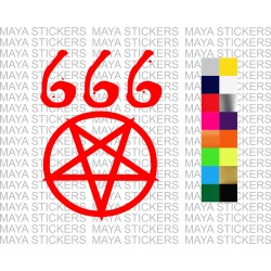 666 devil star symbol decal sticker for cars, motorcycles, laptops