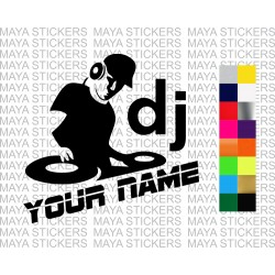 DJ sticker with custom name for cars, bikes, laptops,
