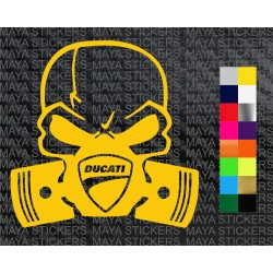 Ducati skull and piston decal sticker for bikes and helmets