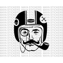 Distinguished Gentleman with pipe and helmet decal