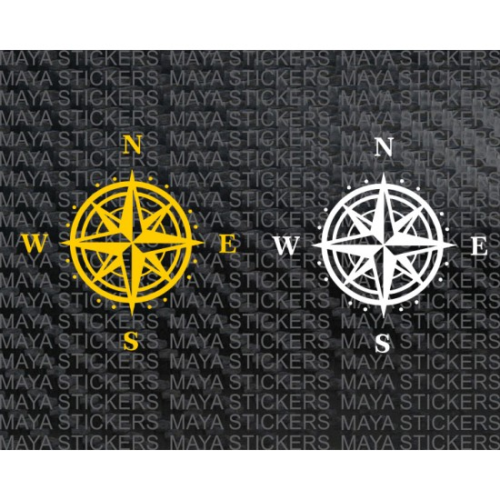 Compass Decal For Cars Bikes And Laptops