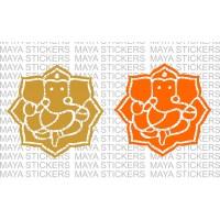 Ganesh / Ganpati sticker in flower pattern design (2 stickers )