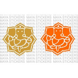 Ganesh / Ganpati sticker in flower pattern design (2 stickers )