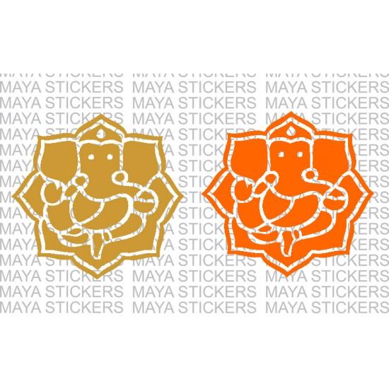 Ganesha Vinayaka Decal Stickers In Rose Pattern
