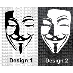 Guy fawkes - anonymous - V for Vendetta mask decal sticker (Pair of 2)