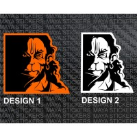 Hanuman Angry Face Dual color Sticker for bikes, laptops, walls, door.
