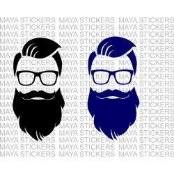 Hipster Gentleman with long beard and glasses decal sticker