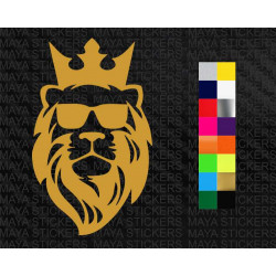 Lion with glasses and crown sticker for cars, bikes, laptops, mobile