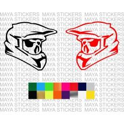 Dirt biker helmet and skull decal sticker for all motorcycles
