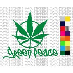Green Peace funny marijuana sticker for cars, bikes, laptop