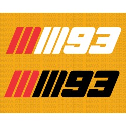 MM93 Marc Marquez logo stickers for Honda Motorcycles (pair of 2 stickers)