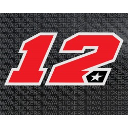 Maverick Vinales 12 number motogp logo stickers for bikes, laptops, helmets