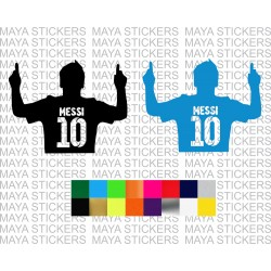 Messi 10 silhouette decal sticker in custom colors and sizes