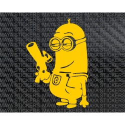Minion with gun sticker for cars, bikes, laptop