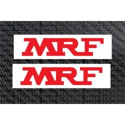 MRF logo sticker with white background. ( 2 Stickers)