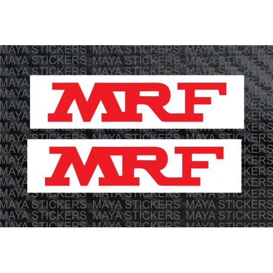 mrf red and white logo stickers