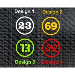 Number in Circle stickers for bikes and cars (Pair of 2 stickers)