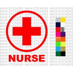 Nurse red cross logo stickers for Cars and two wheelers