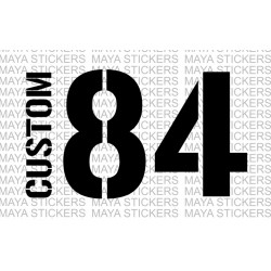 Name and Number sticker with Stencil style fonts.