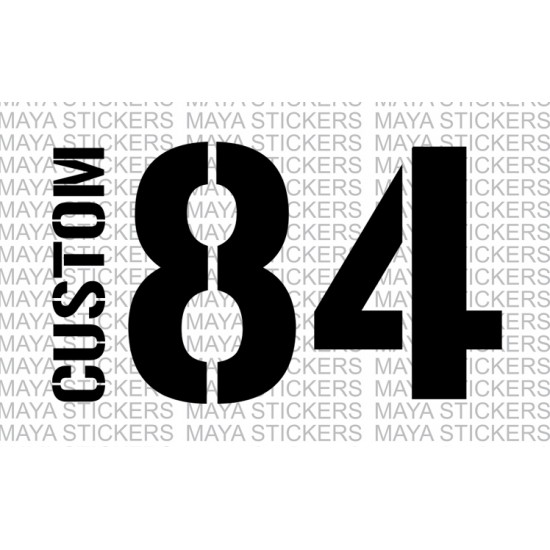 name and number sticker with stencil style fonts