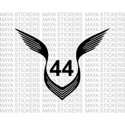 Lewis hamilton 44 logo with wings decal stickers