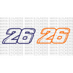 Pedrosa 26 number stickers for bikes, motorcycles, cars, laptops