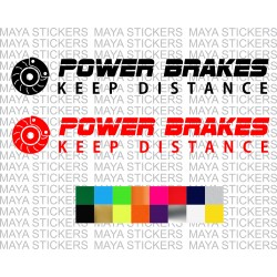 Power Brakes keep distance car stickers in custom colors and sizes
