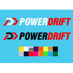 Power Drift logo sticker for bikes, helmets, cars.