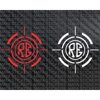 RE logo in crosshair viewfinder design