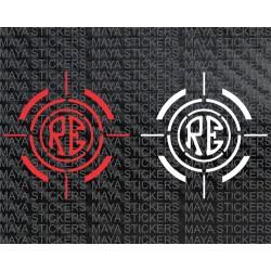 RE logo in crosshair viewfinder design for royal enfield bikes