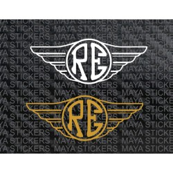 RE in wings design sticker for tool box, tank and other places ( Pair of 2 )  d3