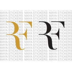 Roger Federer RF logo decal stickers in custom colors and sizes