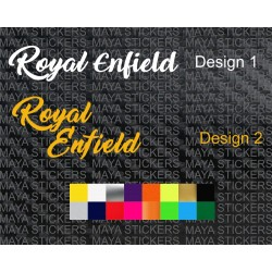 Royal Enfield logo in cursive retro style font for motorcycles and helmets