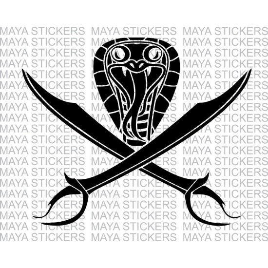 Sword and Cobra snake decal sticker in custom colors