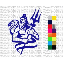 Shiva with snake and trishul design for cars, bikes, laptops